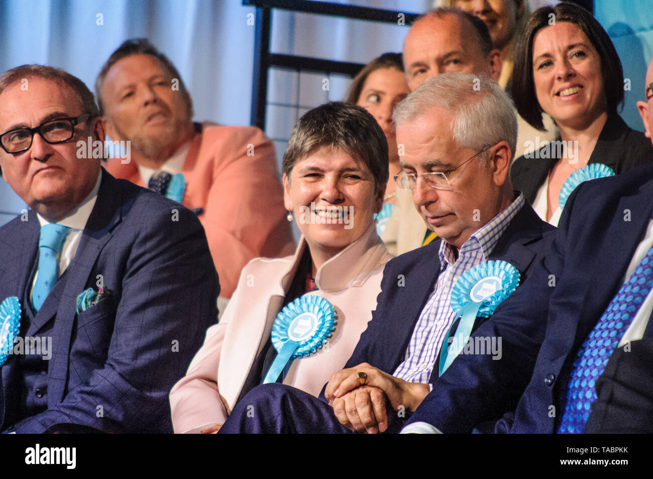 John Longworth (left) and Claire Fox (center) at Brexit Party Rally at London Olympia on 21 May 2019 before the European Election Vote on the 23 May - Stock Image