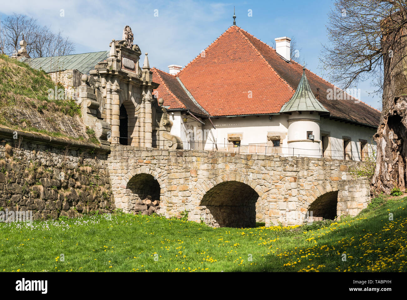 NOWY WISNICZ, POLAND - APRIL 25, 2019: Renaissance and Baroque Castle in Nowy Wisnicz, near Tarnow, in spring scenery,Poland. - Stock Image