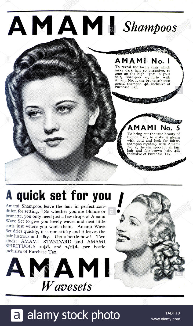 Vintage advertising for Amami Shampoos from 1945 - Stock Image