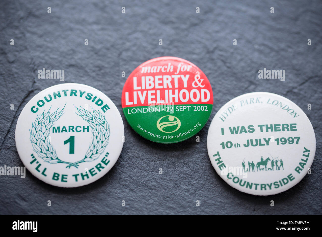 Pro-hunting badges that were made between 1998 and 2002 in relation to the proposal to ban hunting with dogs in the UK. A pro-hunt rally in 1997 in Hy - Stock Image