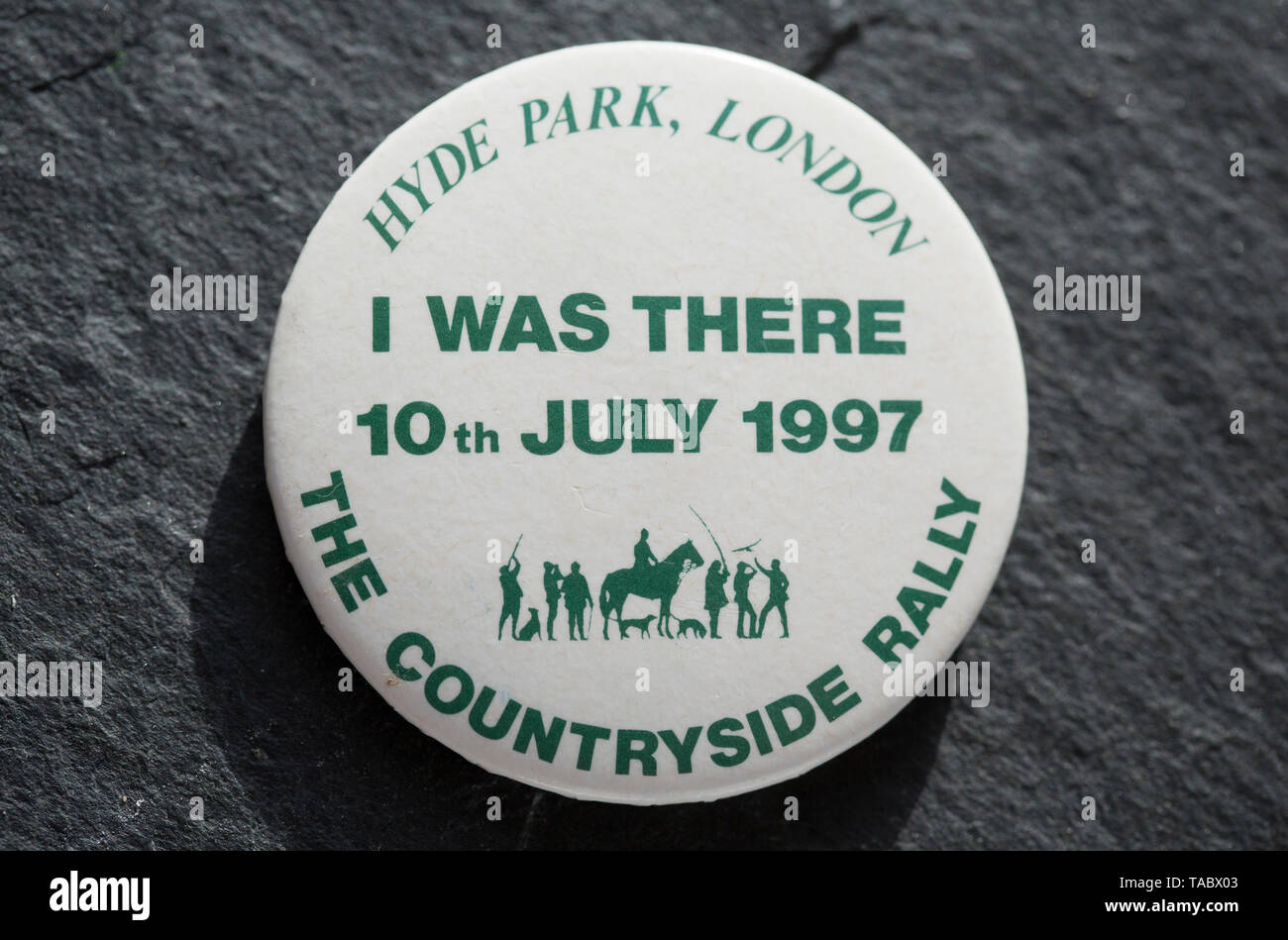 A pro-hunting badge that was made for the 1997 Countryside Rally in Hyde Park in relation to the proposal to ban hunting with dogs in the UK. The rall - Stock Image