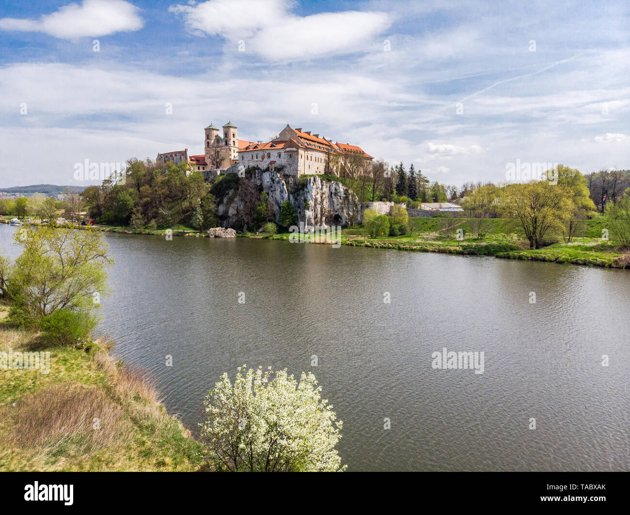 Aerial view of Benedictine abbey, monastery and Saint Peter and Paul church in Tyniec near Krakow, Poland. Stock Photo