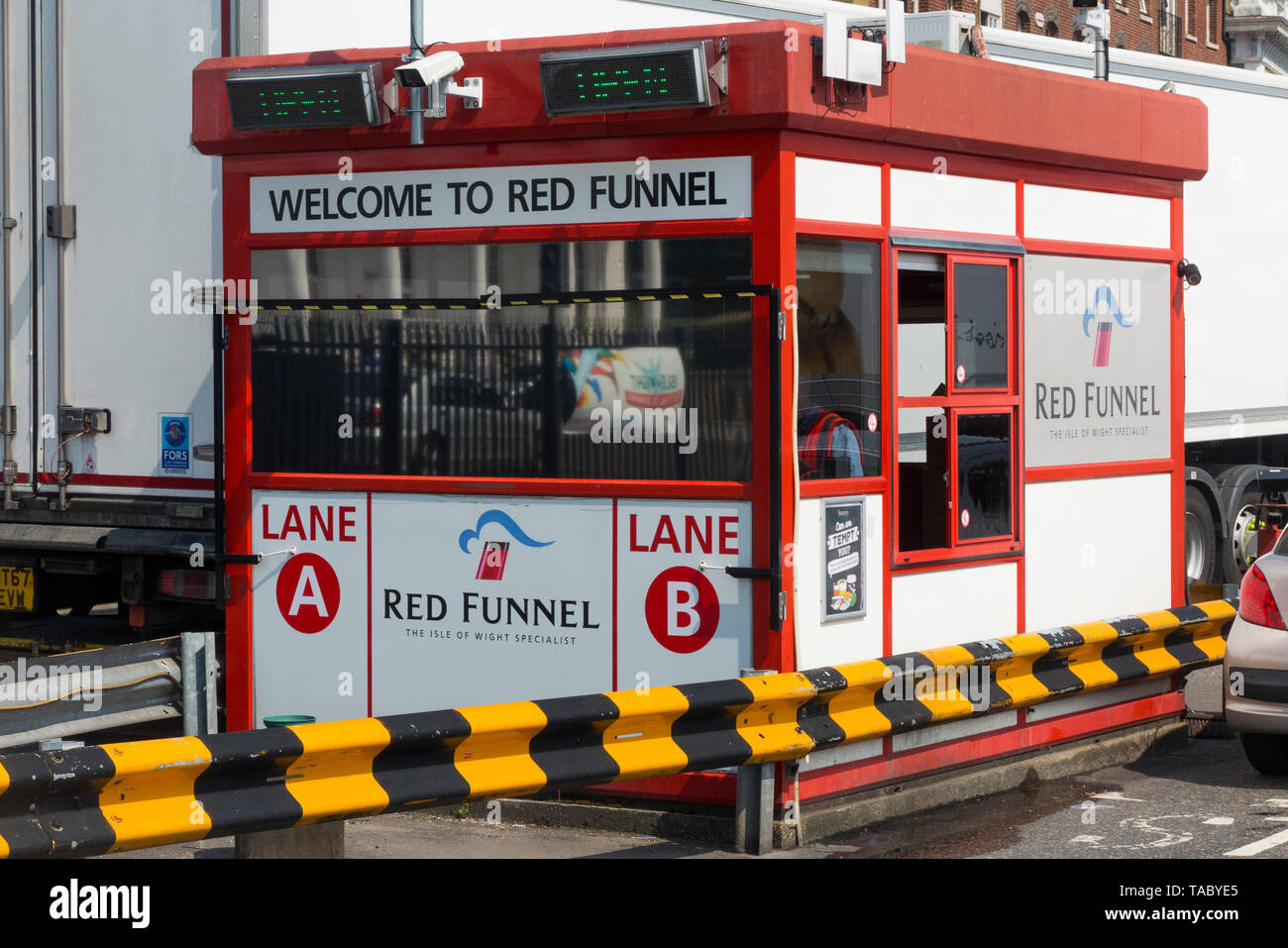 Red funnel ferries booth to arrive cars for red funnel ferries departing the port for the Isle of Wight. (99) Stock Photo
