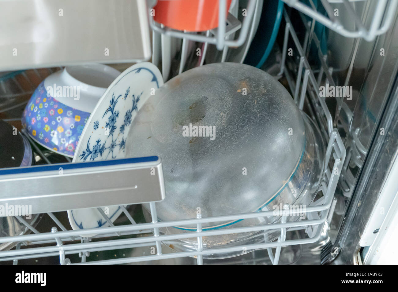 Dishes in the dishwasher dirty - Stock Image
