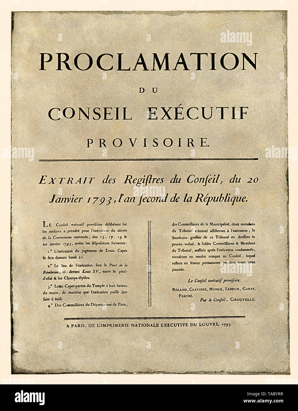Announcement of the order of execution of Louis XVI, French Revolution, 1793. Halftone with a watercolor wash - Stock Image