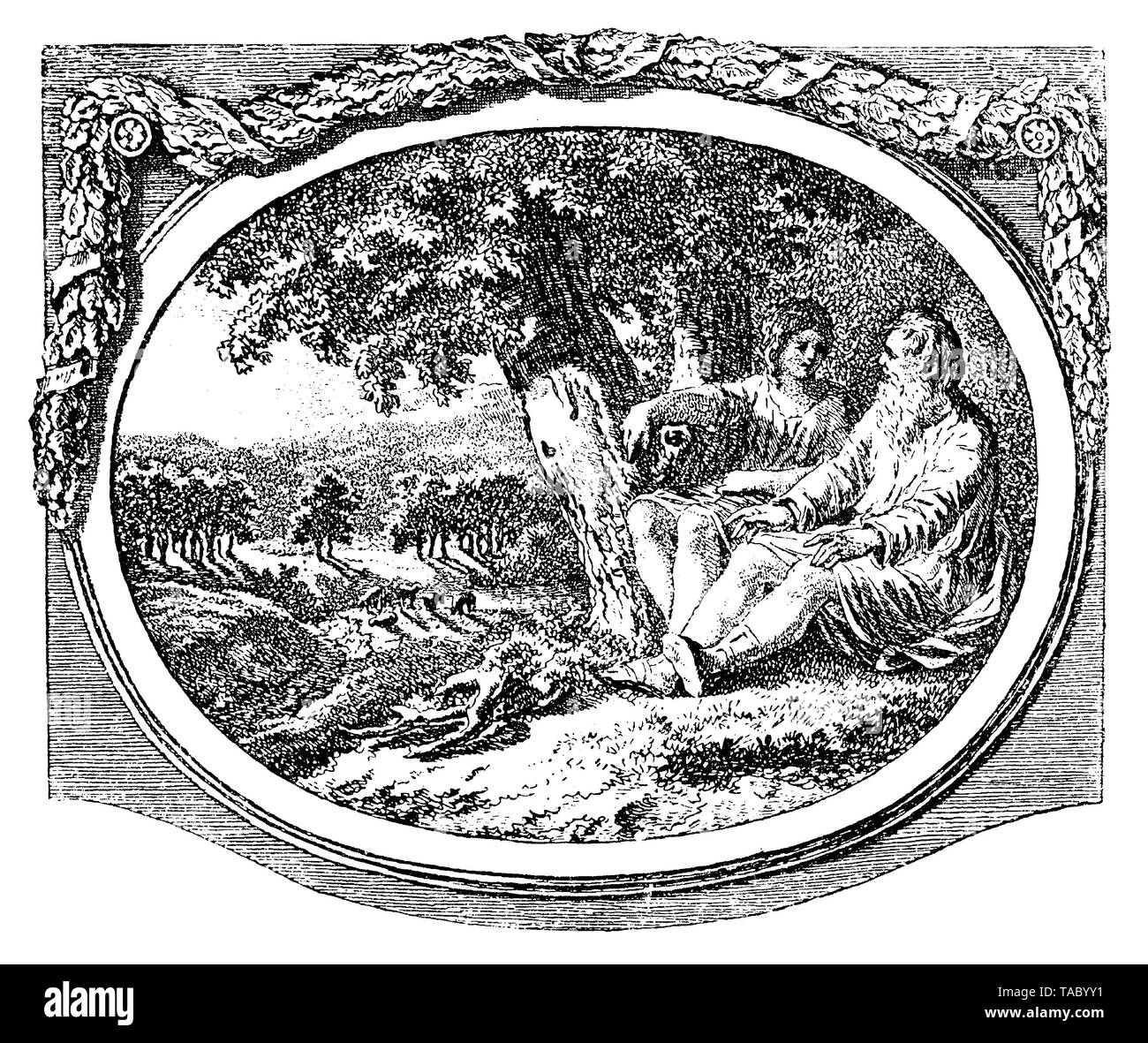 Pastoral scene with an old man and a young woman like two Greek gods sitting under the shadow of a tree,  chapter decoration  by Salomon Gessner 18th century - Stock Image