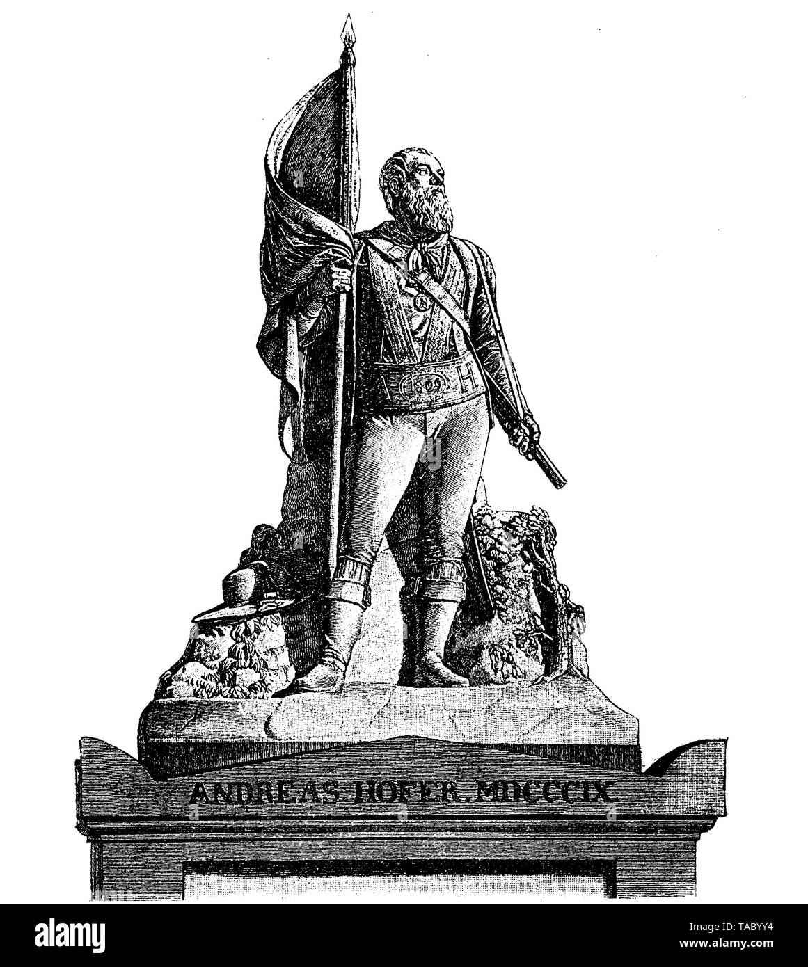 Innsbruck, Austria - Monument on the tomb of Andreas Hofer (1767 - 1810) folk hero, leader of the Tyrolean Rebellion against the Napoleonic invasion - Stock Image