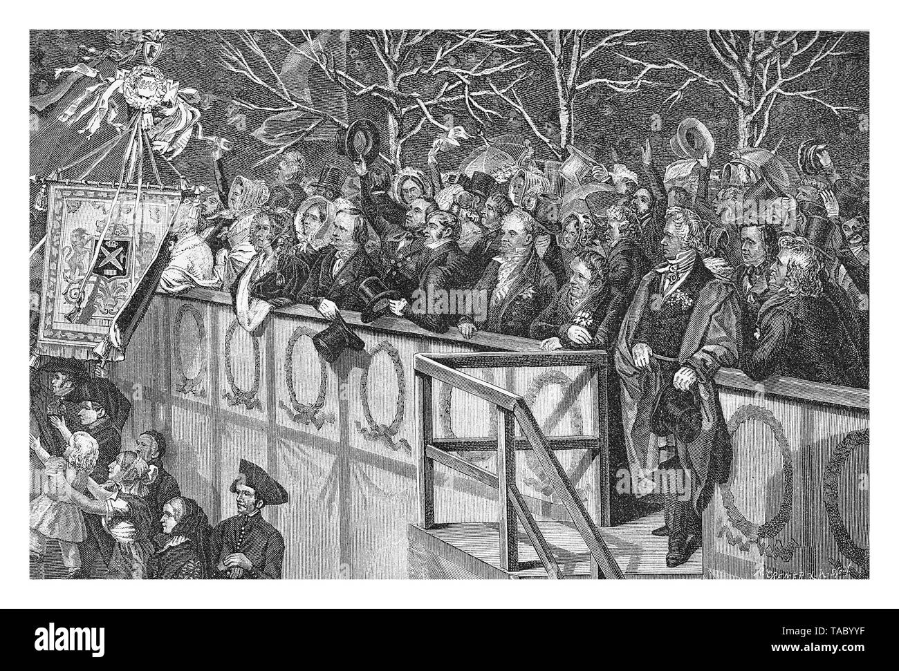 official gallery for the homage to Frederick William IV of Prussia in a public ceremony in Berlin october 15th 1840 - Stock Image