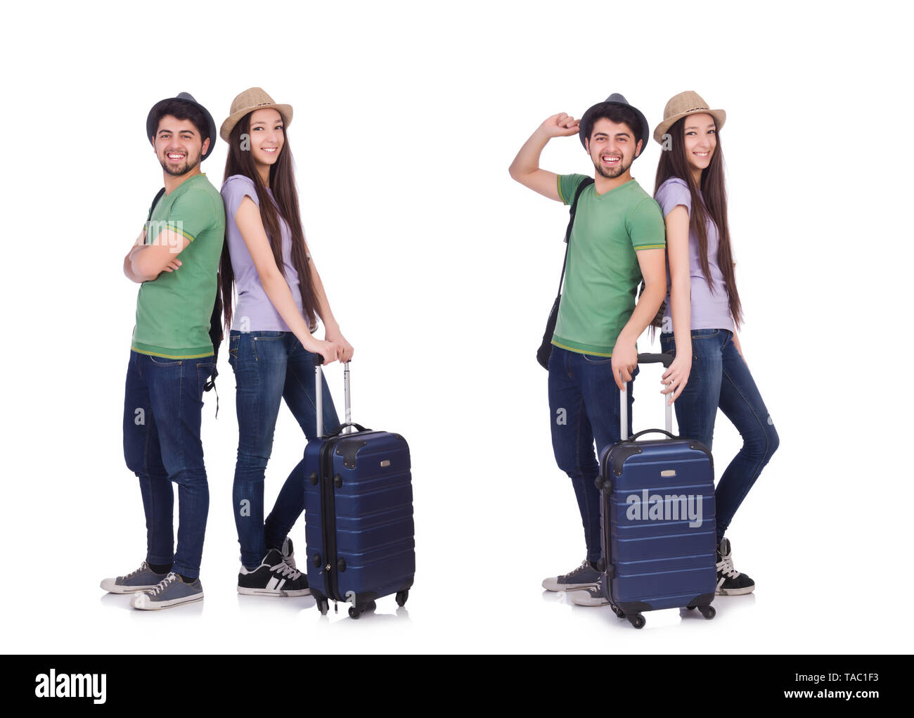 Students ready for travel on white - Stock Image