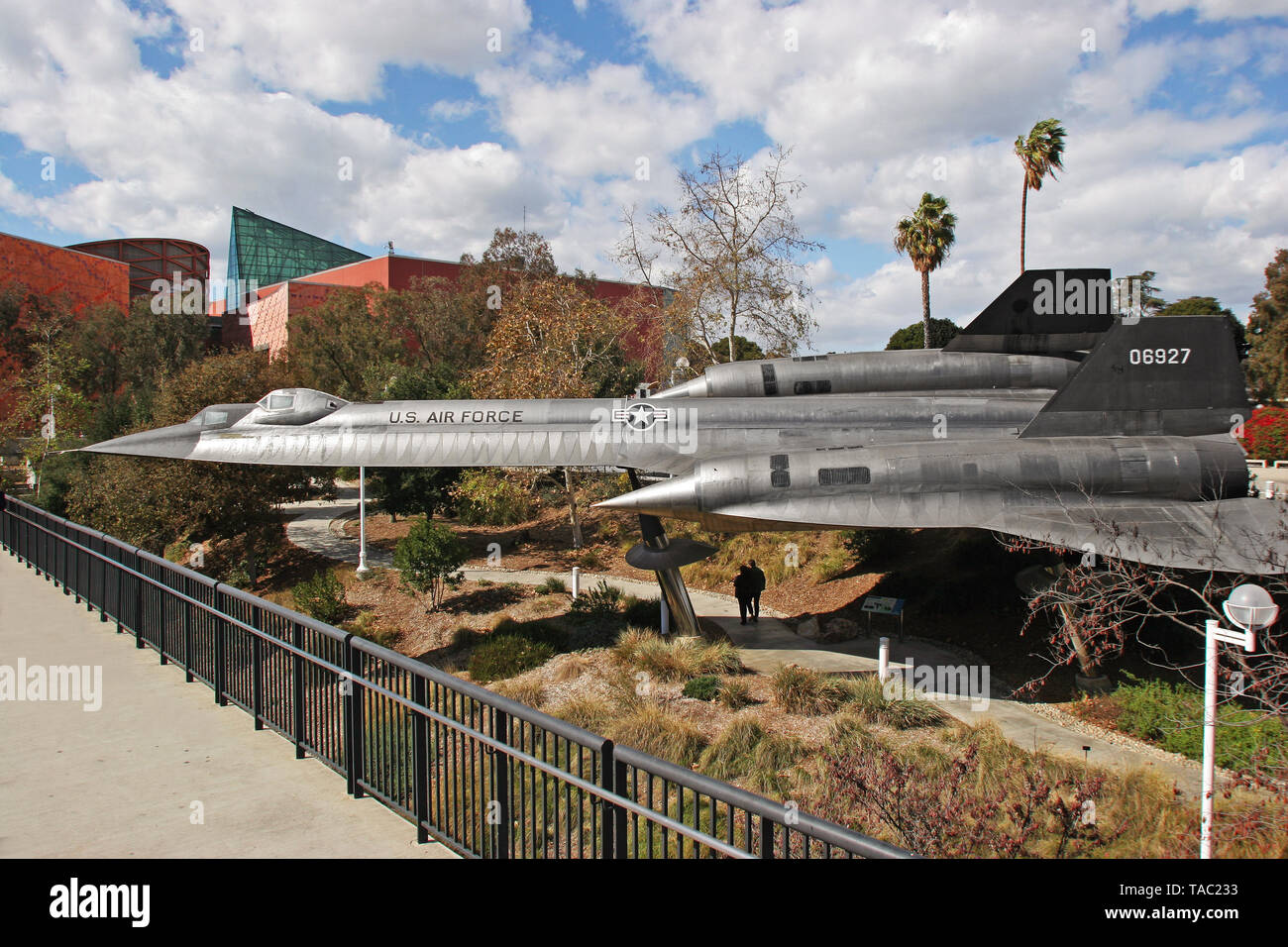 Lockheed SR 71 Blackbird plane on display in Exposition Park Los Angeles Stock Photo