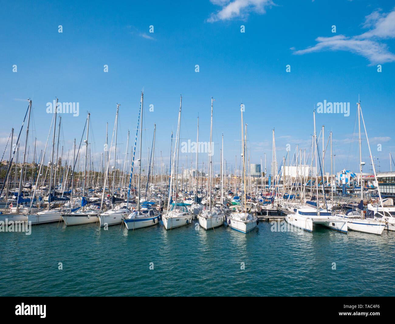 Sailboat and sailing ship Port Vell in Barcelona, Spain - Stock Image