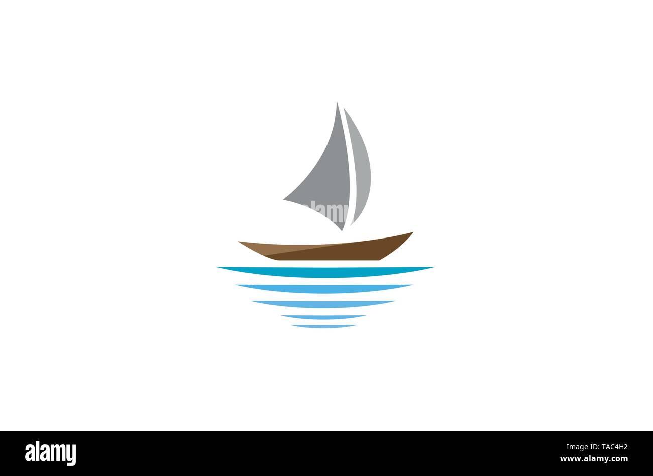 Sailing Boat logo - Stock Image
