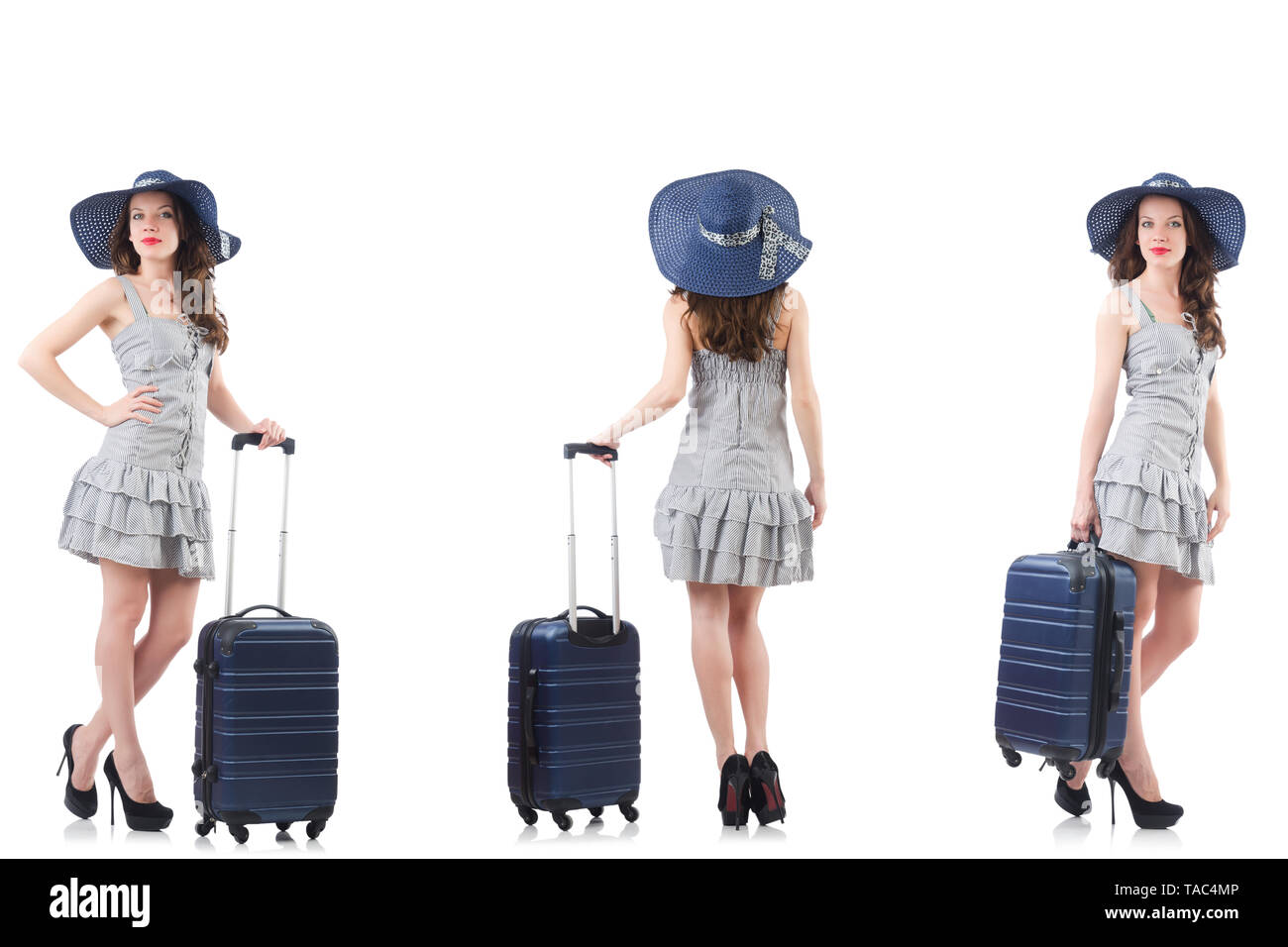 Woman with suitcase isolated on white - Stock Image