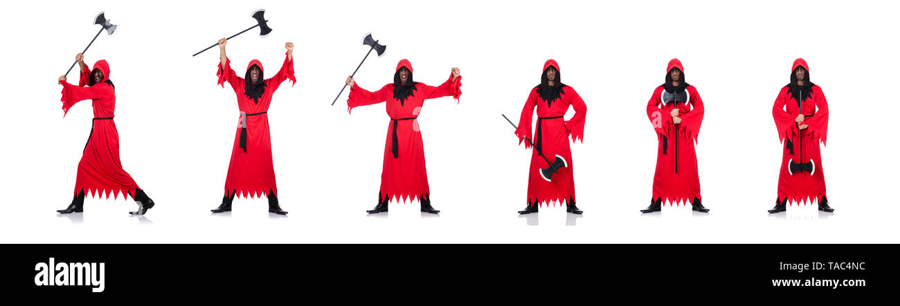 Executioner in red costume with axe on white - Stock Image