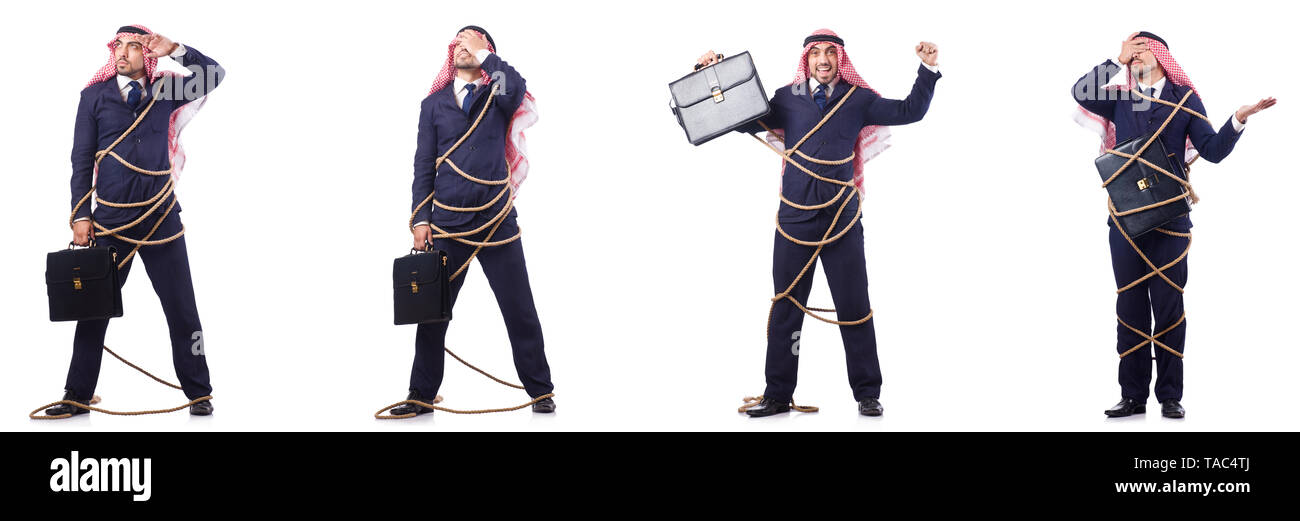 Arab man tied up with rope - Stock Image