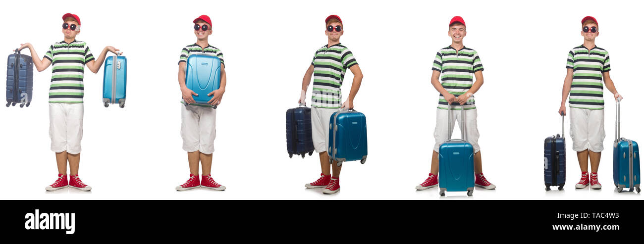 Young man with suitcase isolated on white - Stock Image