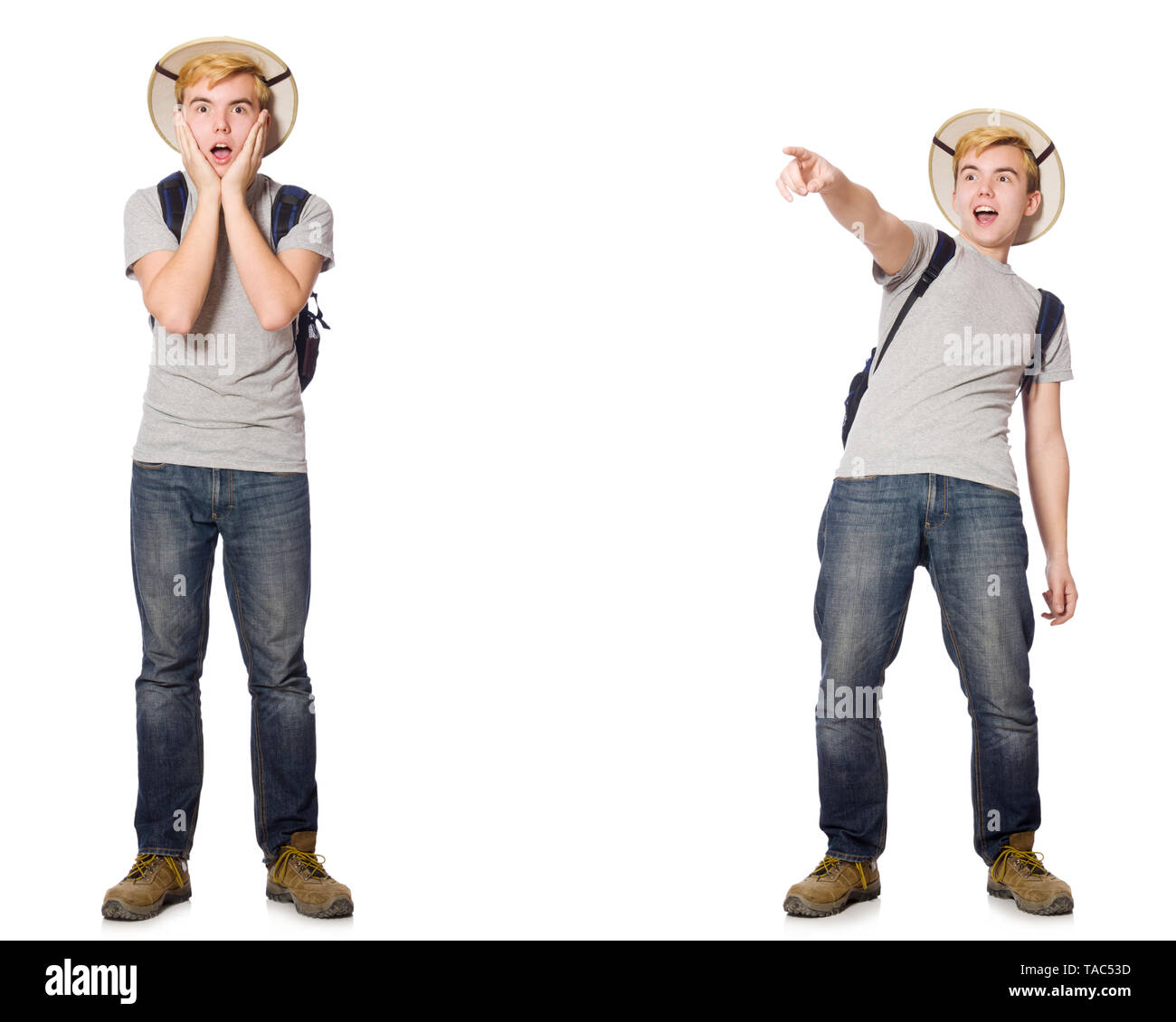 Young boy in cork helmet with backpack - Stock Image