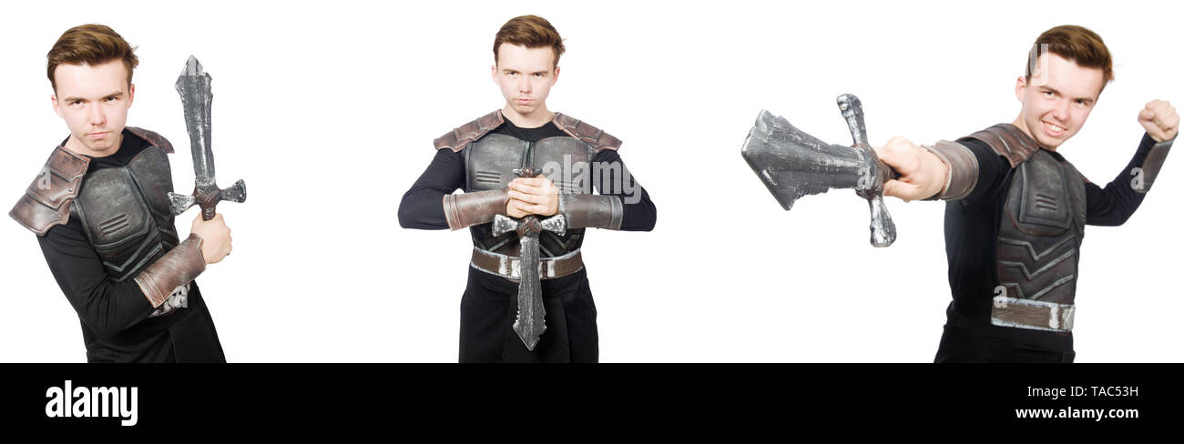 Young funny man in armour suit - Stock Image