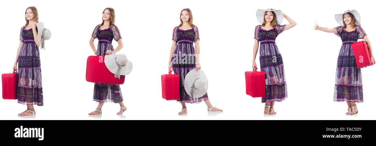 Young woman with suitcase isolated on white - Stock Image