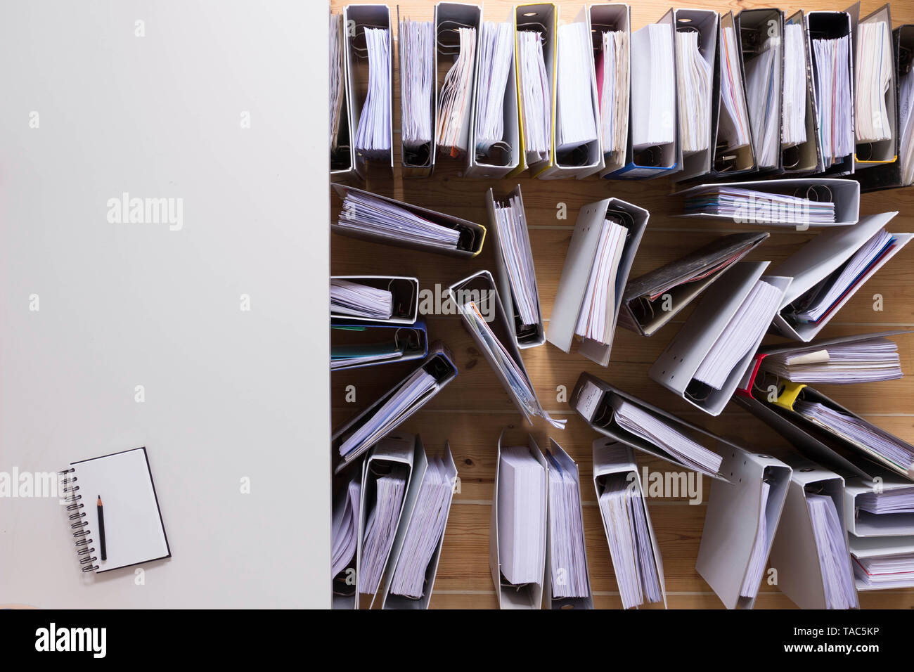 Desk and folders - Stock Image