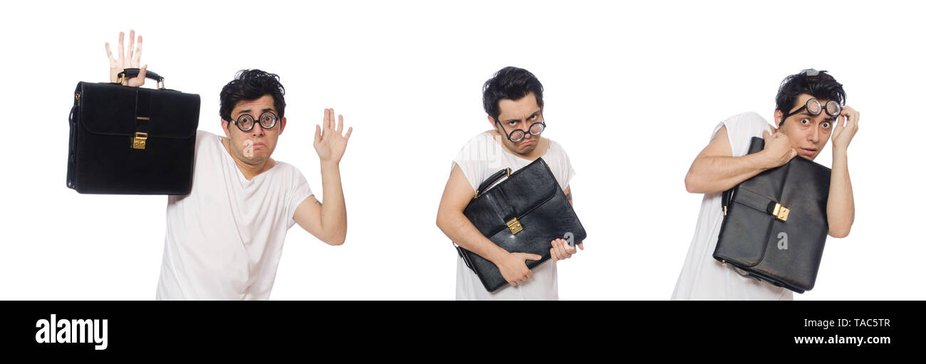 Funny man suffering from mental disorder - Stock Image