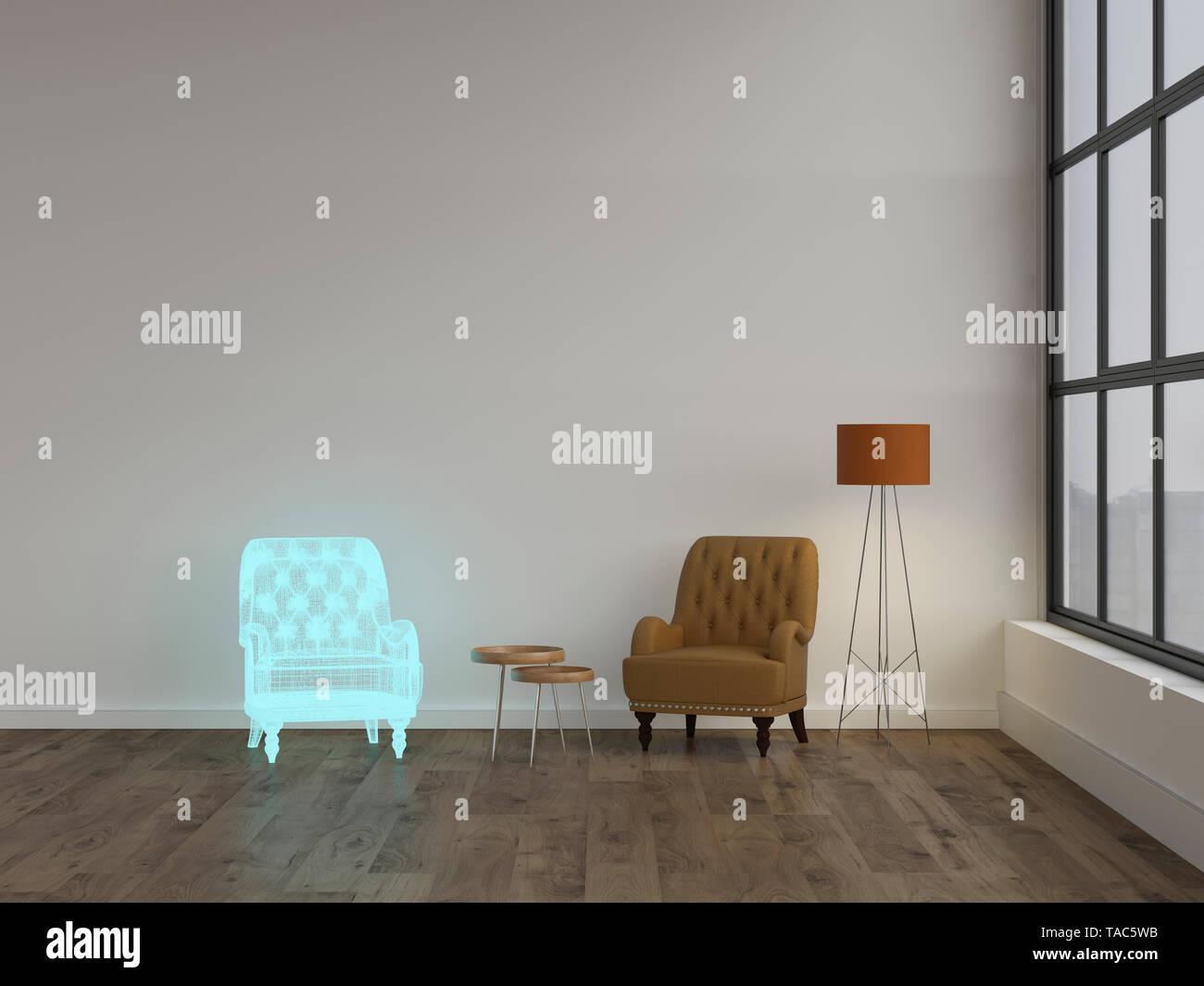 3D rendering, Hologram of armchair in modern living room ...