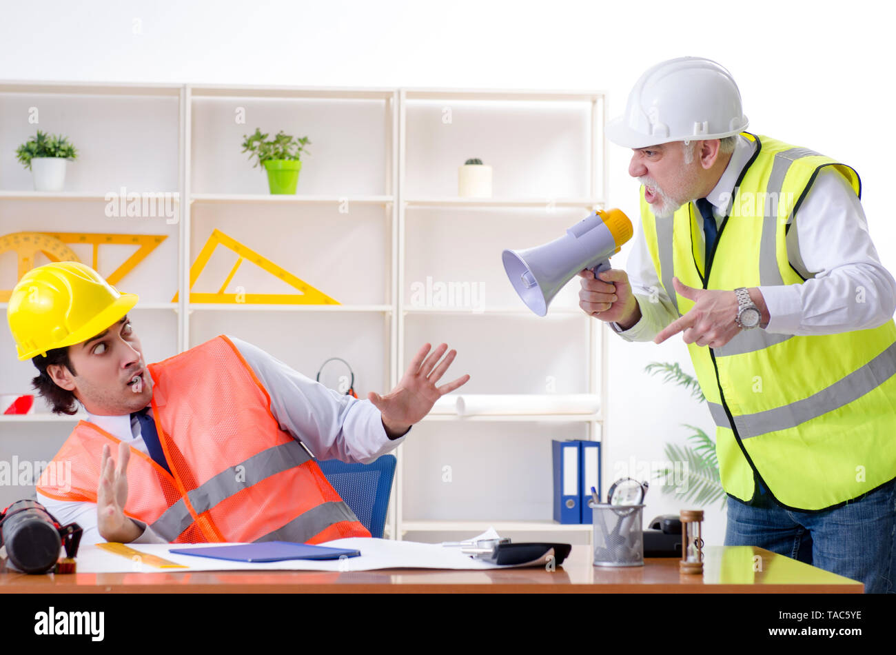 Two engineers colleagues working under project - Stock Image
