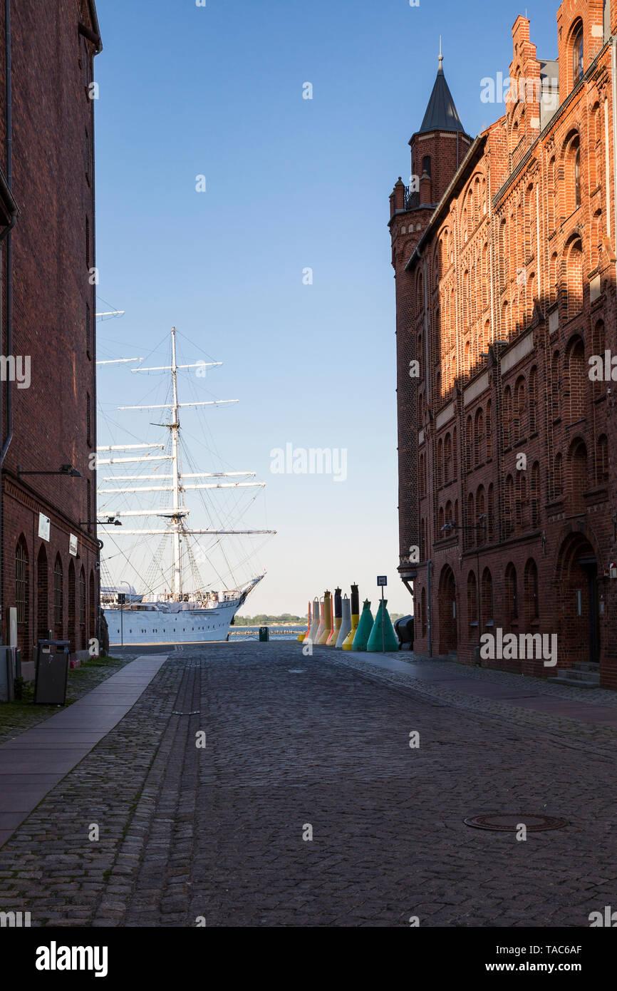 Germany, Mecklenburg-Western Pomerania, Stralsund, Harbour, Sail training ship Gorch Fock, museum ship - Stock Image