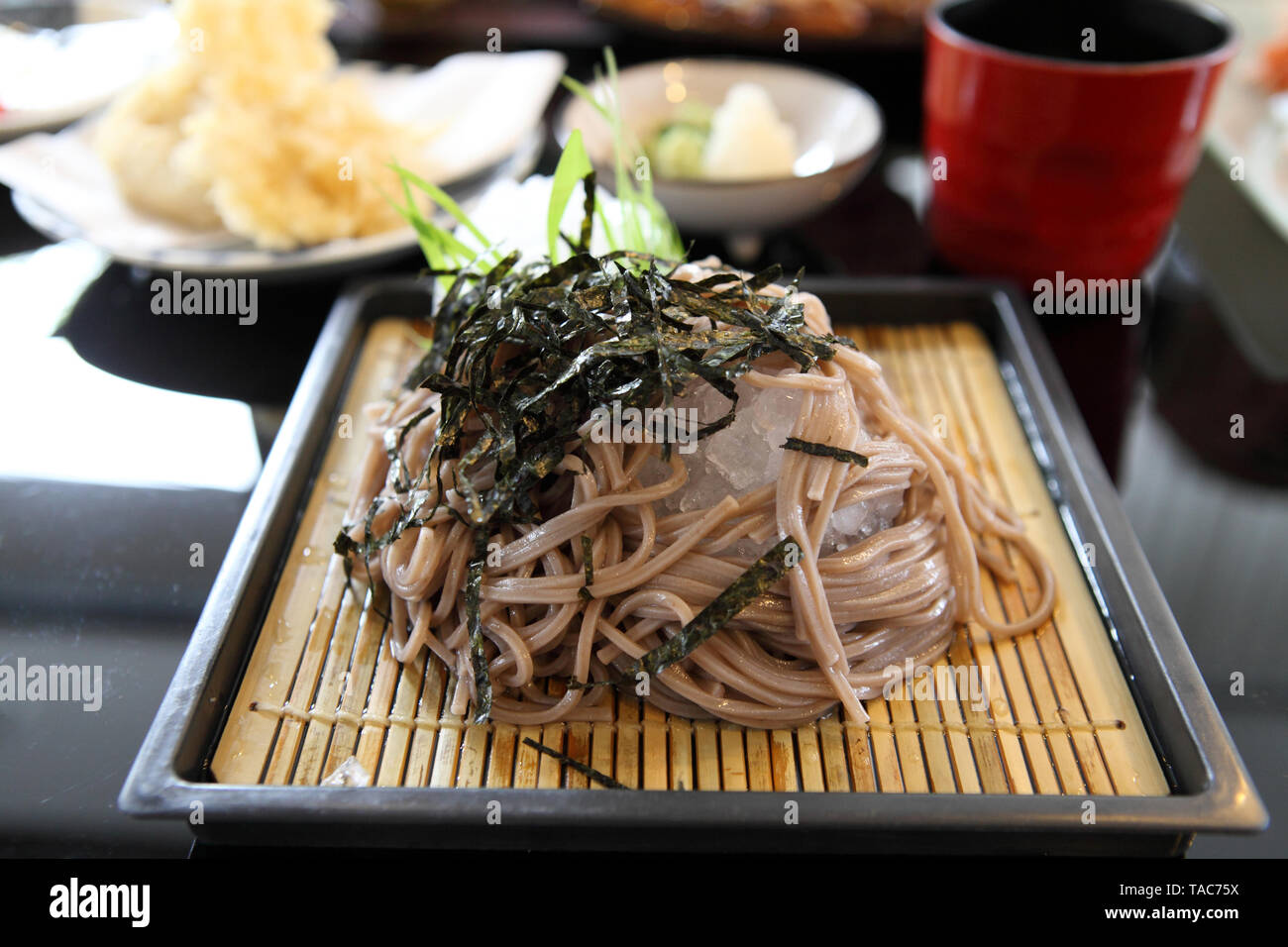 Soba noodle with fried shrimp - Stock Image