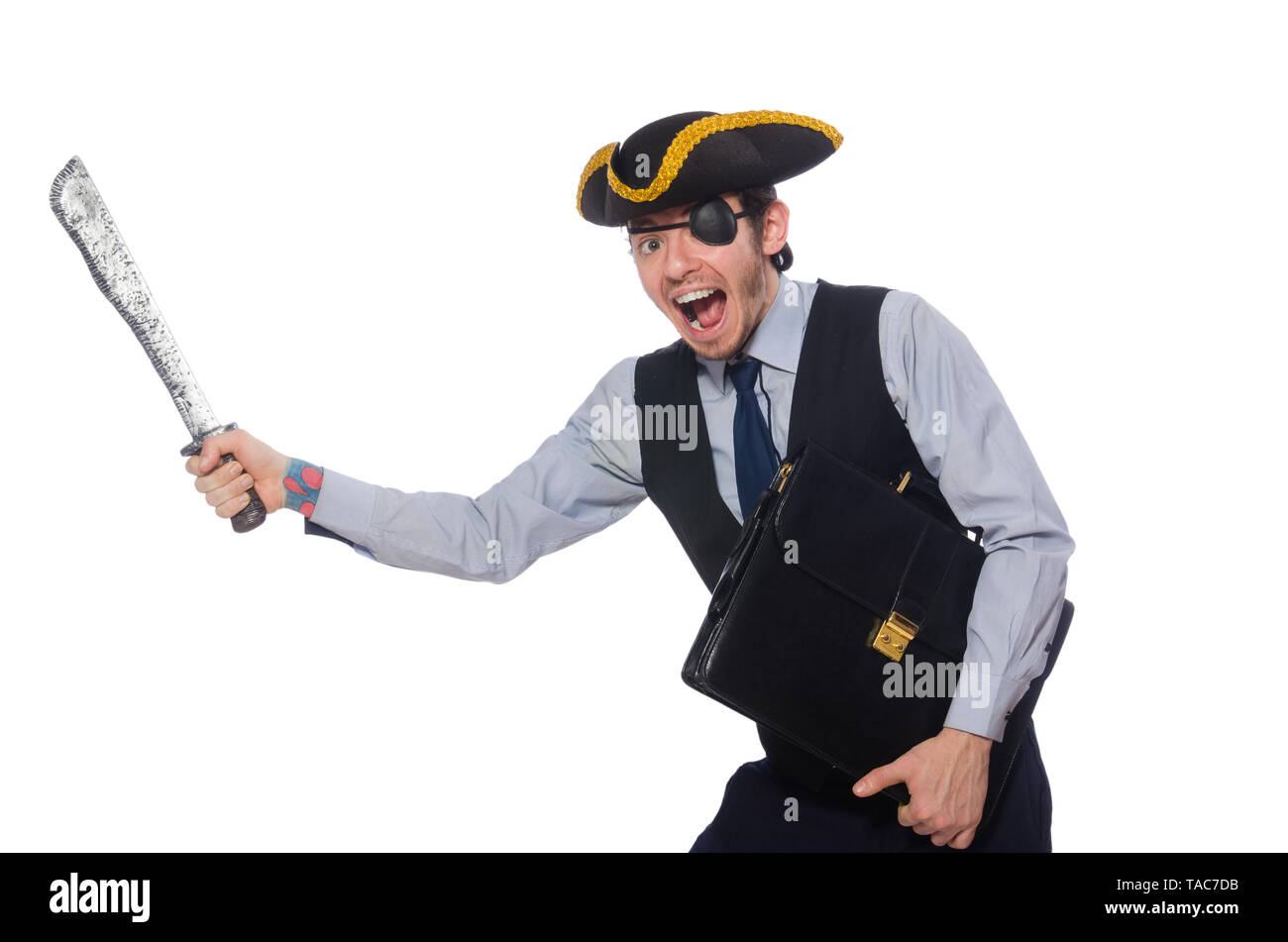 Businessman pirate isolated on white background - Stock Image