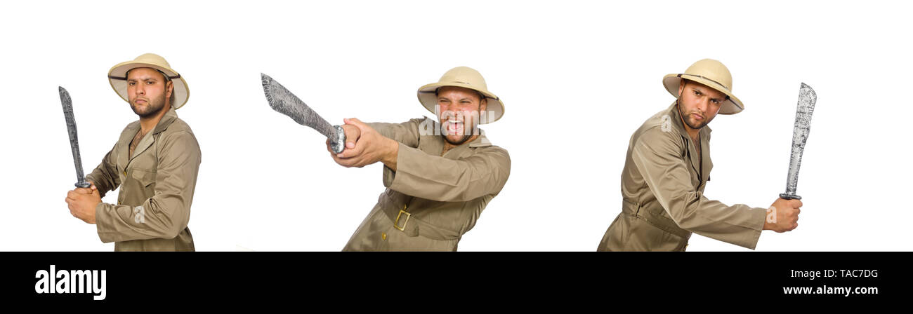 Man with knife isolated on white - Stock Image