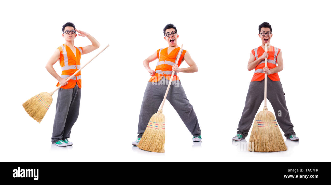 Funny janitor isolated on white - Stock Image
