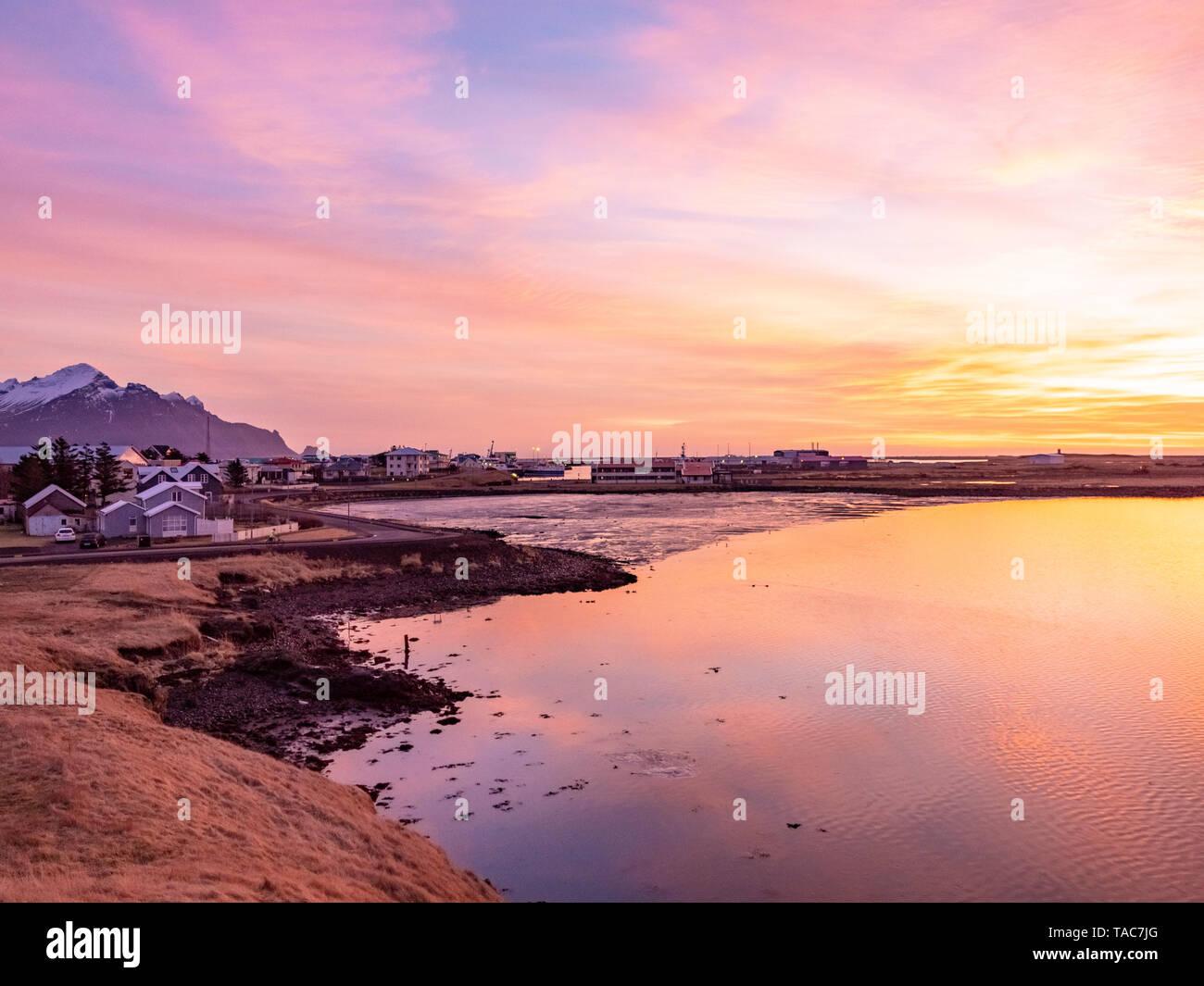 Iceland, Hoefn, townscape at sunrise - Stock Image