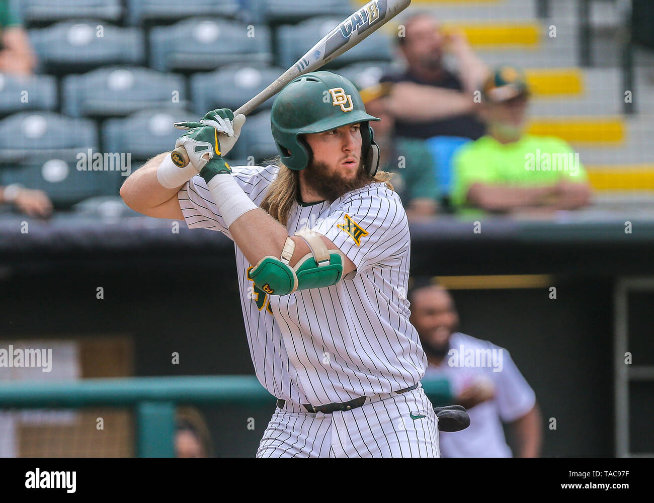 Oklahoma City, OK, USA. 22nd May, 2019. Baylor infielder Davis Wendzel (33) at bat during a 2019 Phillips 66 Big 12 Baseball Championship first round game between the Oklahoma Sooners and the Baylor Bears at Chickasaw Bricktown Ballpark in Oklahoma City, OK. Gray Siegel/CSM/Alamy Live News Stock Photo