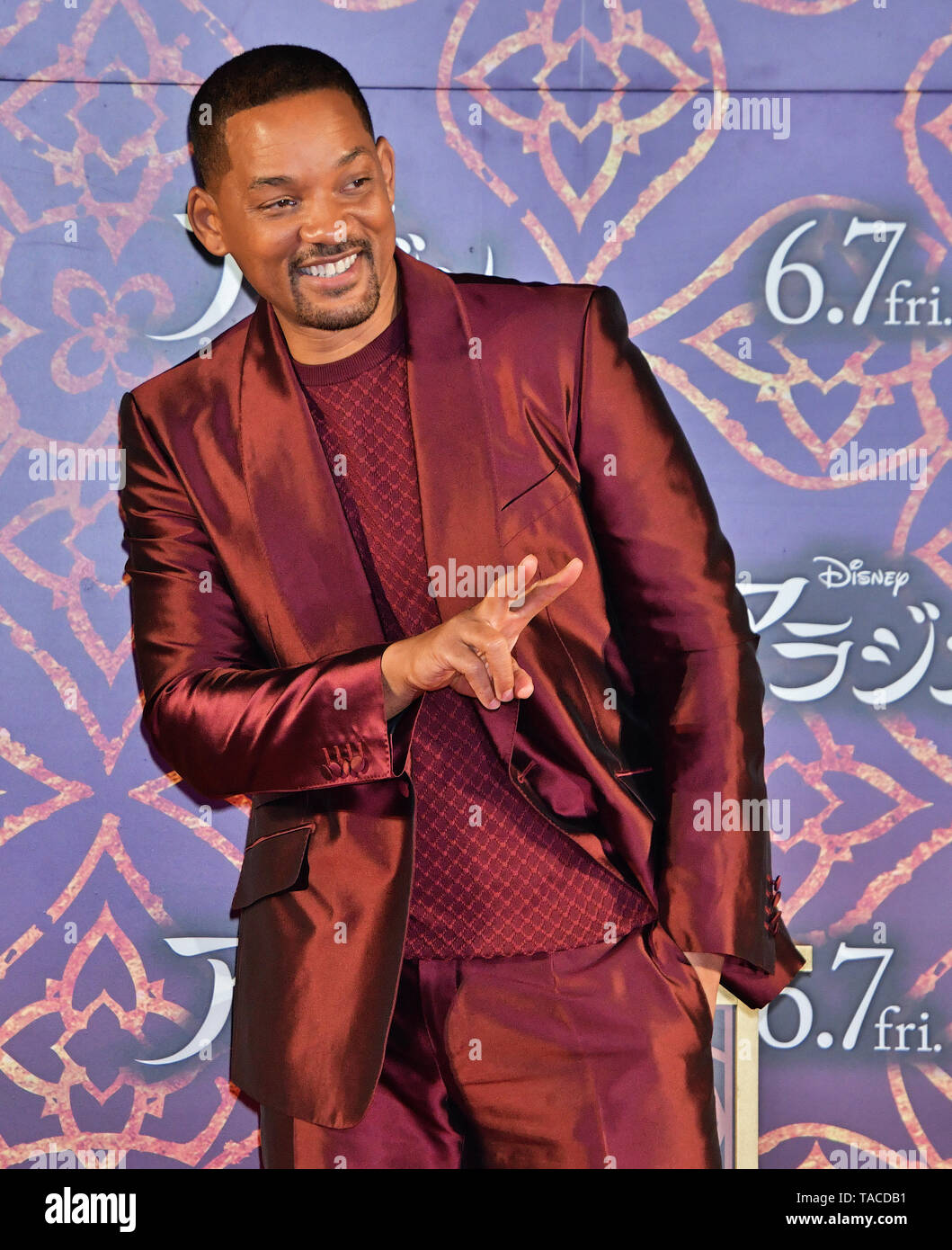 Actor Will Smith attends the Japan premiere for 'Aladdin' in Tokyo, Japan on May 16, 2019. Credit: AFLO/Alamy Live News - Stock Image