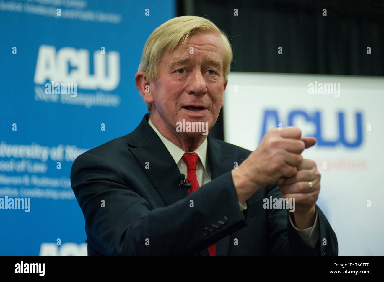 Concord, NH, USA May 23 2019.  Republican Presidential candidate and former Massachusetts Governor Bill Weld spoke to less than 100 people at the University of New Hampshire School of Law in Concord, NH.  The event, Civil Liberties & The Presidency, was organized by the New Hampshire American Civil Liberties Union (ACLU). Credit: Chuck Nacke/Alamy Live News - Stock Image