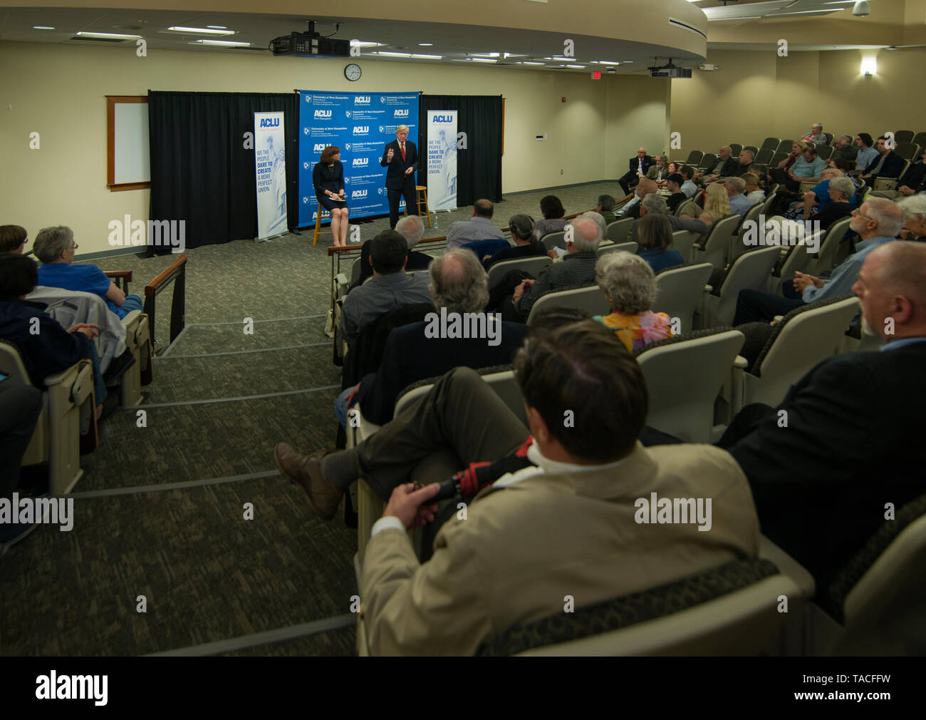 Concord, USA. 23rd May, 2019. Concord, NH, USA May 23 2019. Republican Presidential candidate and former Massachusetts Governor Bill Weld spoke to less than 100 people at the University of New Hampshire School of Law in Concord, NH. The event was organized by the New Hampshire American Civil Liberties Union (ACLU). Credit: Chuck Nacke/Alamy Live News Stock Photo