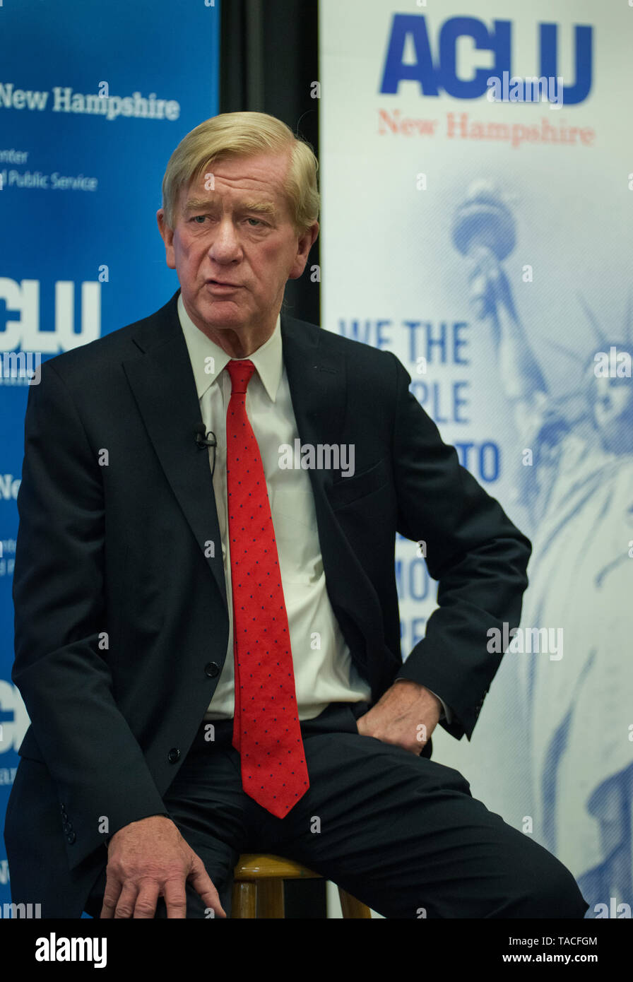 Concord, NH, USA May 23 2019.  Republican Presidential candidate and former Massachusetts Governor Bill Weld spoke to less than 100 people at the University of New Hampshire School of Law in Concord, NH.  The event, Civil Liberties & The Presidency, was organized by the New Hampshire American Civil Liberties Union (ACLU). - Stock Image