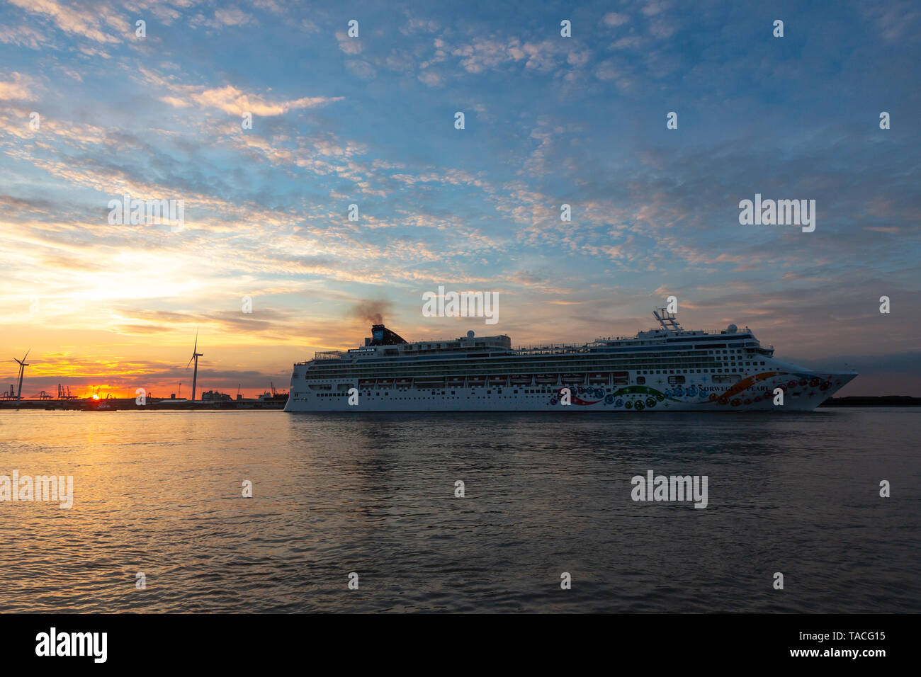 Gravesend, Kent, United Kingdom. 23rd May, 2019. 294 metre long cruise ship Norwegian Pearl pictured departing the River Thames at sunset on 23rd May. The ship is believed to be the longest cruise ship to have moored on the Thames. Rob Powell/Alamy Live News Stock Photo