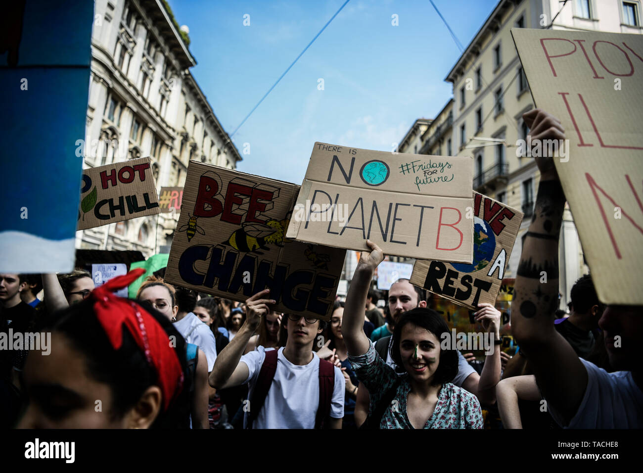 Milan, Italy. 24th May, 2019. Students during the second FridaysForFuture rally to demand action to prevent further global warming and climate change. Credit: Piero Cruciatti/Alamy Live News - Stock Image