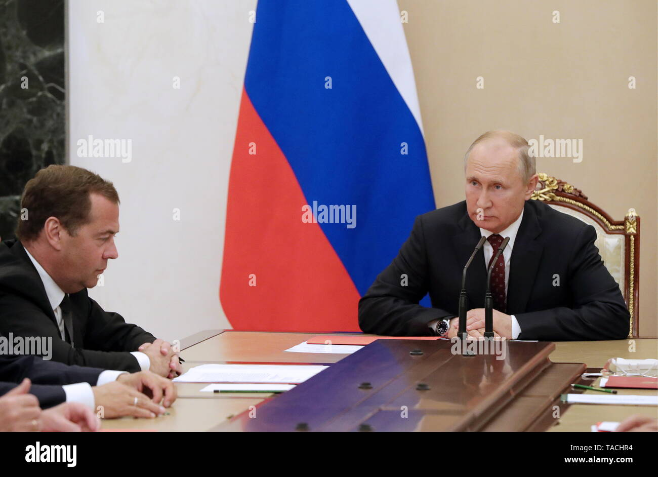 Moscow, Russia. 24th May, 2019. MOSCOW, RUSSIA - MAY 24, 2019: Russia's Prime Minister Dmitry Medvedev (L) and Russia's President Vladimir Putin during a Russian Security Council meeting at the Moscow Kremlin. Mikhail Klimentyev/Russian Presidential Press and Information Office/TASS Credit: ITAR-TASS News Agency/Alamy Live News - Stock Image
