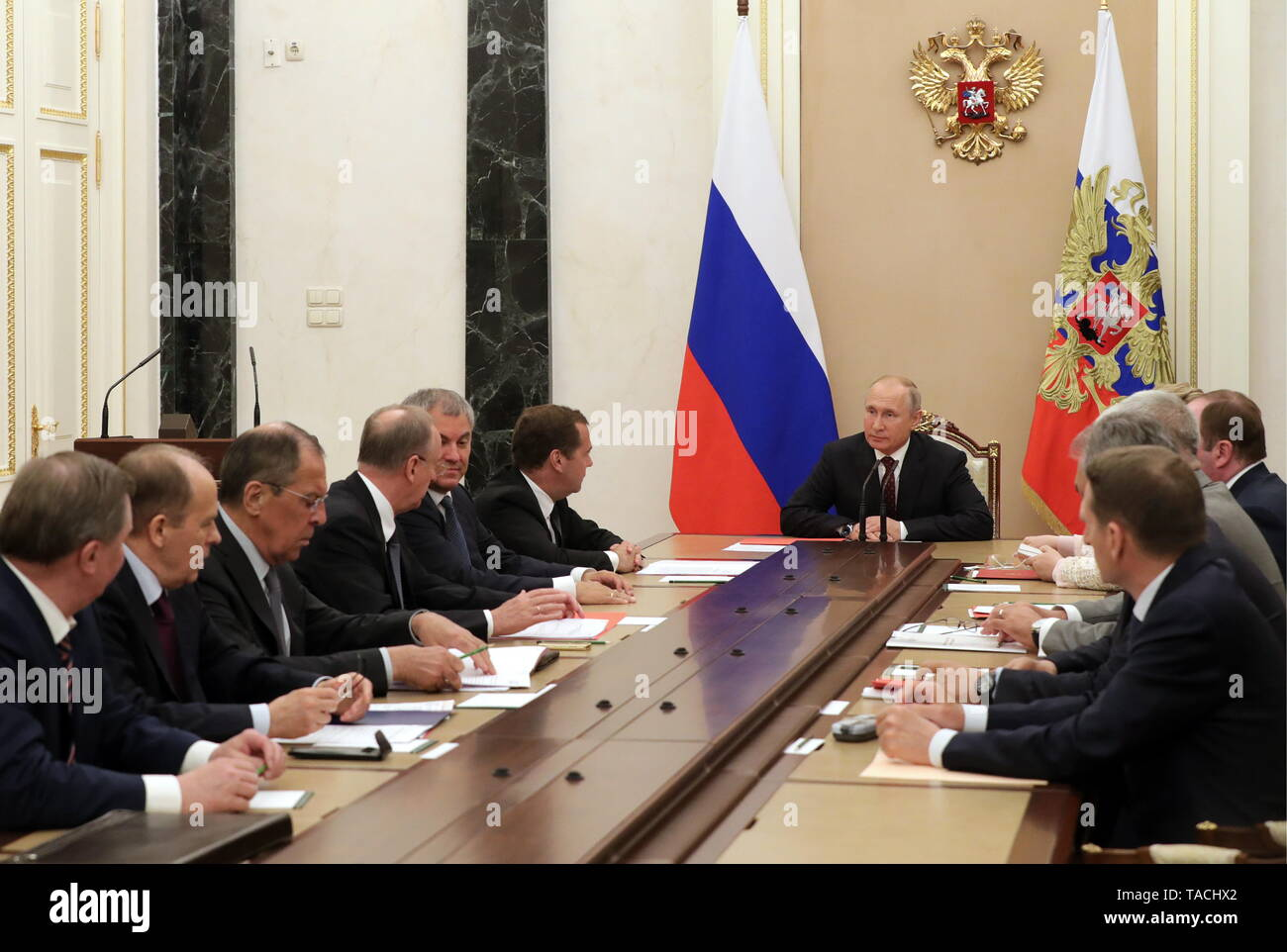 Moscow, Russia. 24th May, 2019. MOSCOW, RUSSIA - MAY 24, 2019: Russia's President Vladimir Putin (C) chairs a Russian Security Council meeting at the Moscow Kremlin. Mikhail Klimentyev/Russian Presidential Press and Information Office/TASS Credit: ITAR-TASS News Agency/Alamy Live News - Stock Image