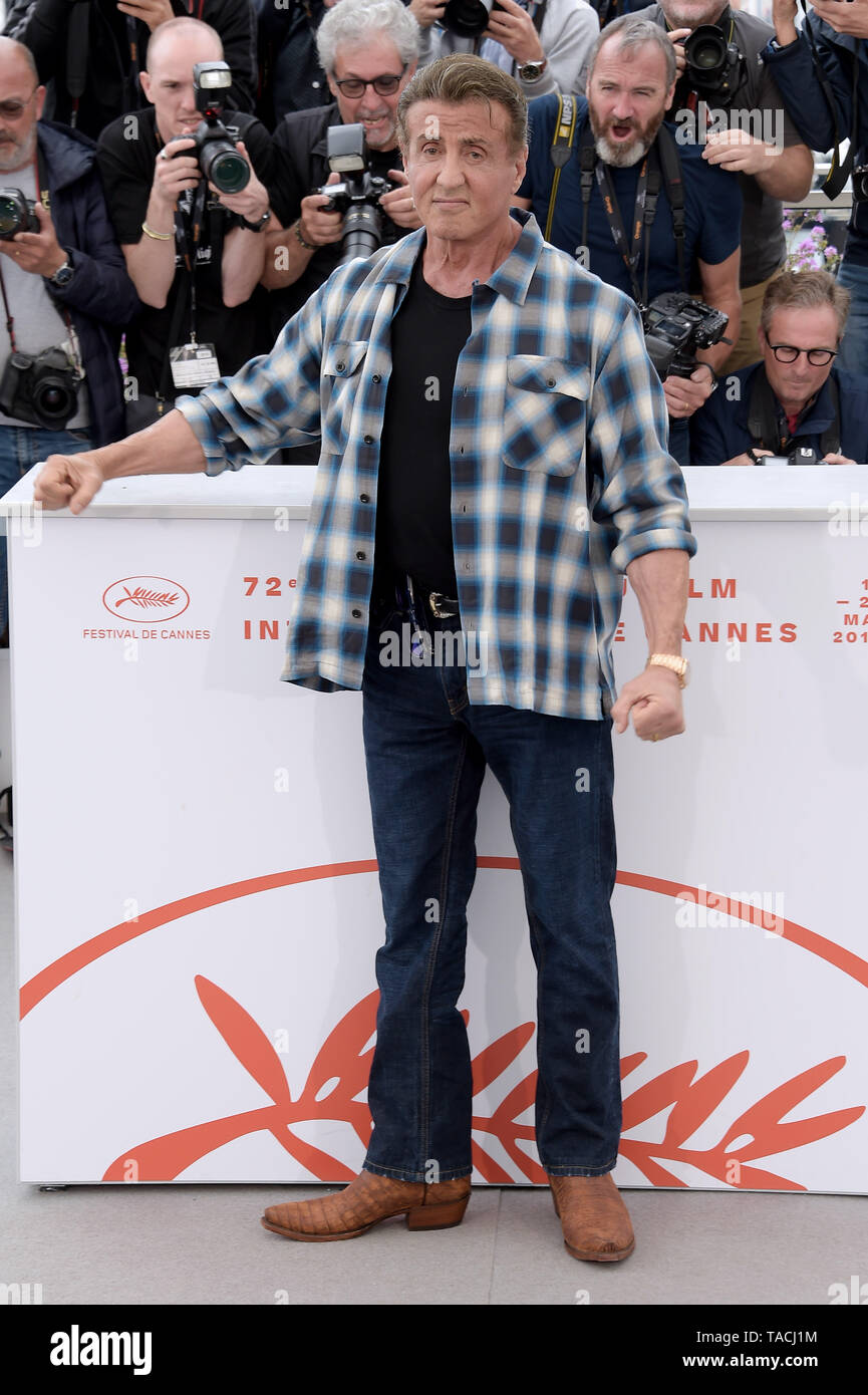 Cannes, France. 24th May, 2019. 72nd Cannes Film Festival 2019, Photocall : ''˜Rendez-vous With Sylvester Stallone & film Rambo V: Last Blood' Pictured: Sylvester Stallone Credit: Independent Photo Agency/Alamy Live News - Stock Image