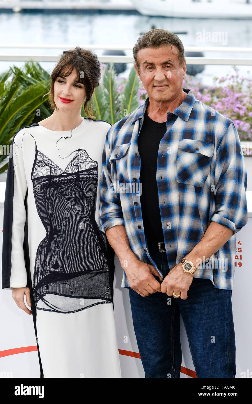 Cannes, France. 24th May, 2019. Paz Vega and Sylvester Stallone poses at a photocall for  Rambo V: Last Blood on Friday 24 May 2019 at the 72nd Festival de Cannes, Palais des Festivals, Cannes. Pictured: Paz Vega , Sylvester Stallone. Picture by Julie Edwards. Credit: Julie Edwards/Alamy Live News - Stock Image