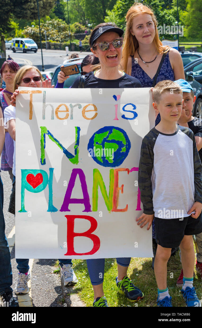 Bournemouth, Dorset, UK. 24th May 2019. Youth Strike 4 Climate gather in Bournemouth Square with their messages about climate change, before marching to the Town Hall.  There is no planet B sign. Credit: Carolyn Jenkins/Alamy Live News Stock Photo