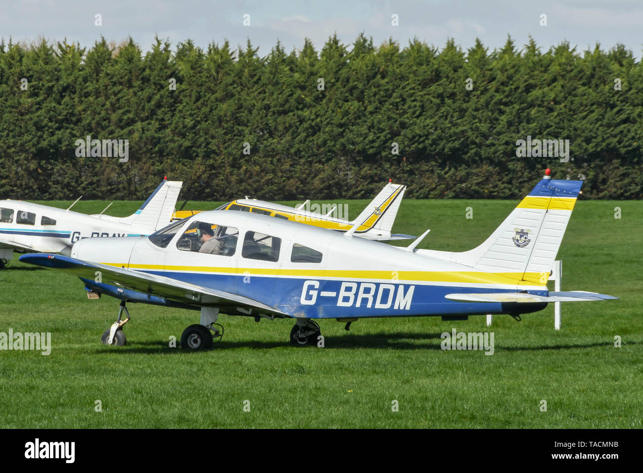 WHITE WALTHAM, ENGLAND - MARCH 2019: Piper PA28 Cherokee Warrier of the West London Aero Club at White Walhtam airfield. - Stock Image