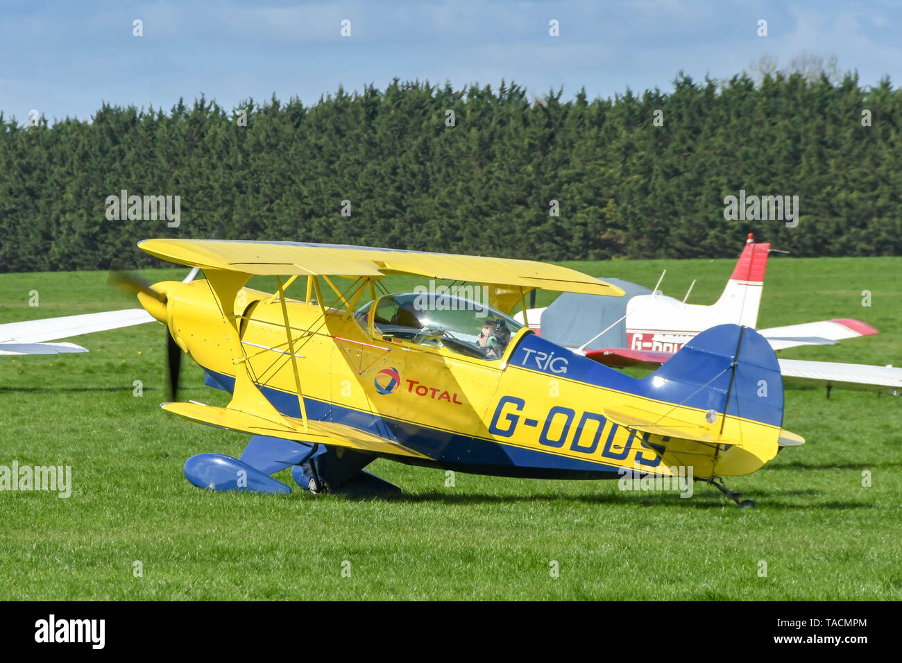 WHITE WALTHAM, ENGLAND - MARCH 2019: Pitts Special aerobatic plane taxiing for take off at White Walhtam airfield. - Stock Image