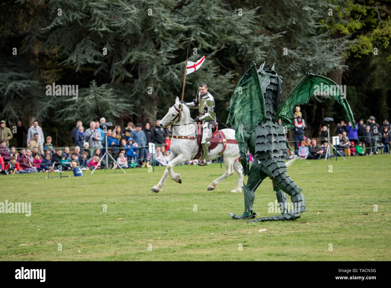 St. George and Dragon at the St George's festival at Wrest Park, Silsoe, Bedfordshire, England - Stock Image