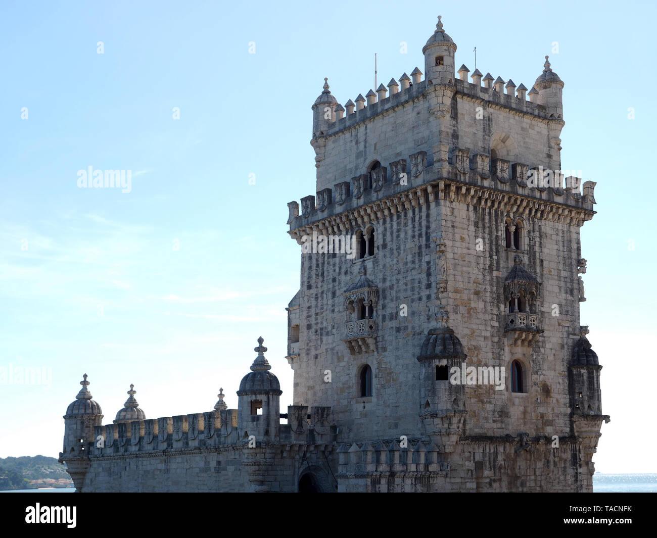 Famous tower or Torre de Belem in Lisbon Stock Photo