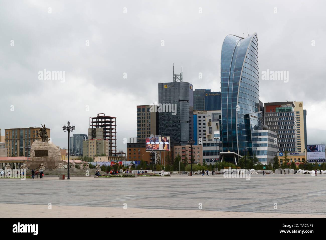 Sükhbaatar Square and Blue Sky Tower, Ulaanbaatar, Mongolia Stock Photo